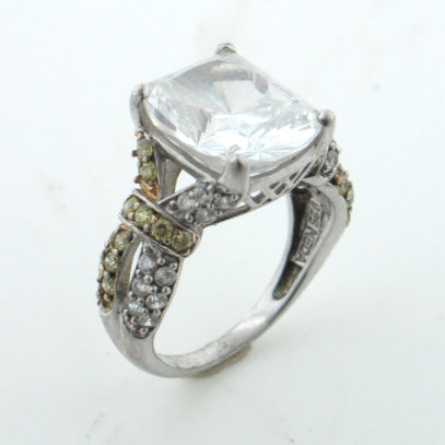 Sterling Silver Absolute Canary Clear CZ Engagement Band Ring