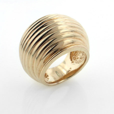 Tech Sterling Silver Huge Bold Ribbed Signature Ring