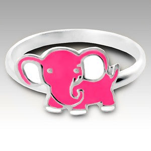 Pink Elephant Childs Sterling Silver Ring