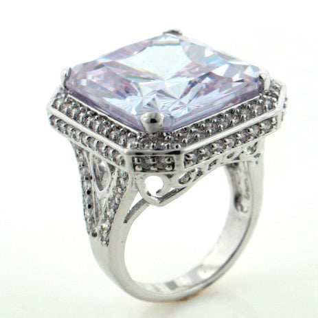 Huge Sparkling CZ Lavender In Your Dreams Silver Toned Ring