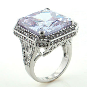 Huge Sparkling CZ Lavender In Your Dreams Silver Toned Ring - Silver Insanity