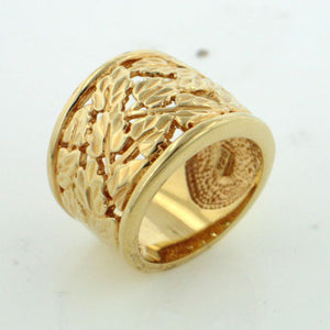 Gold over Sterling Silver Mini Leaf Dome Ring - Silver Insanity