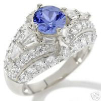Sterling Silver Absolute Created Sapphire and Clear CZ Ring