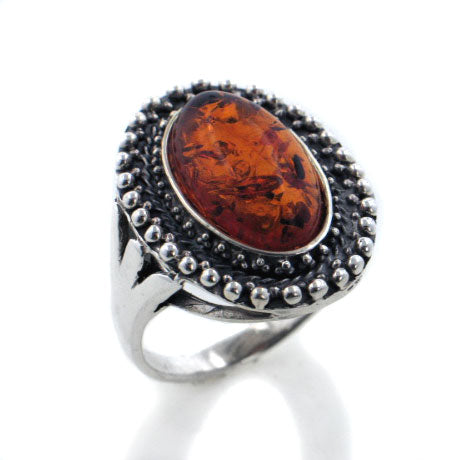 Large Genuine Oval Baltic Amber Sterling Silver Ring