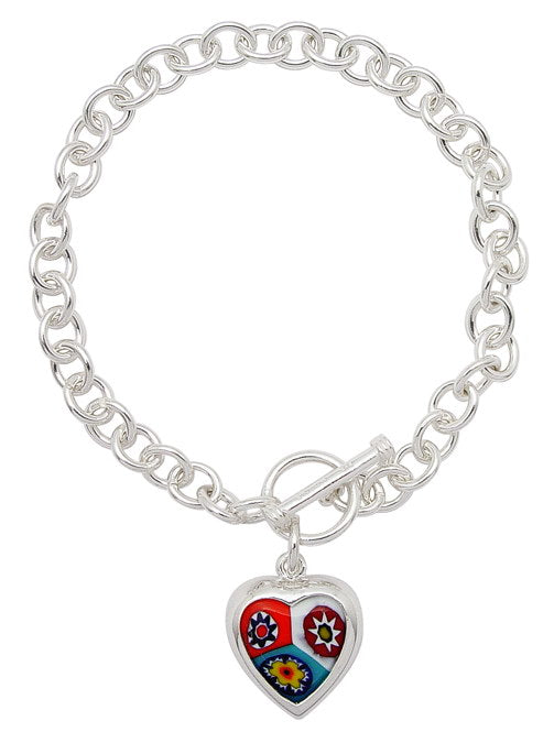 "7"" Sterling Silver Toggle Bracelet with Italian Glass Millefiori Heart Charm - Silver Insanity"