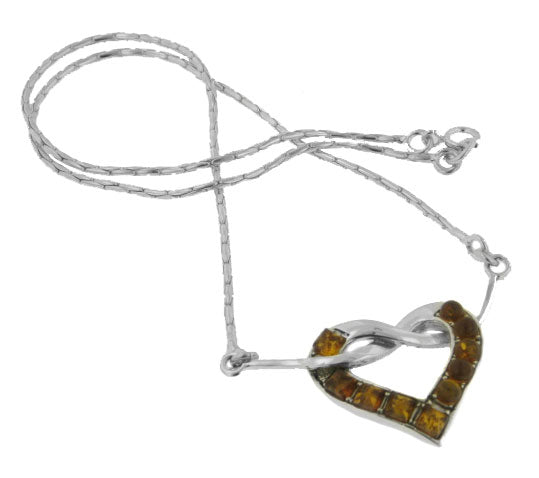 "Sterling Silver Genuine Honey Baltic Amber Pendant Knotted Heart 18"" Necklace - Silver Insanity"