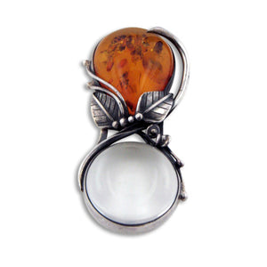 Handheld Genuine Amber Handle and Sterling Silver Magnifying Glass - Gift Boxed - Silver Insanity