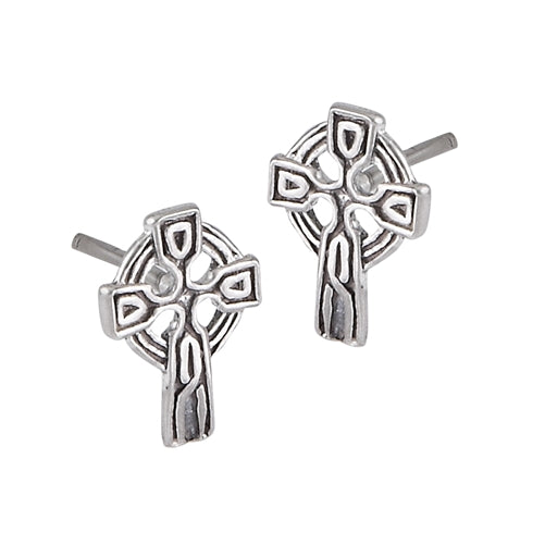 Tiny Sterling Silver Celtic Knot Cross Stud Post Earrings - Silver Insanity