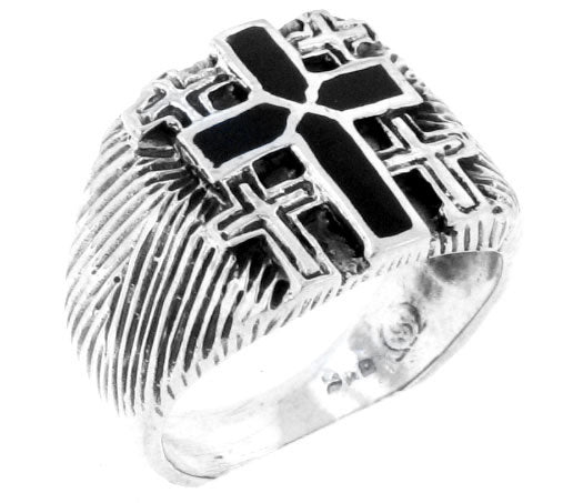 Sterling Silver Black Enamel Cross Band Ring - Silver Insanity