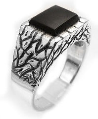 Crackled Sterling Silver Black Onyx Inlay Ring - Silver Insanity