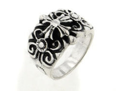 Large Sterling Silver Mens Gothic Cross Ring