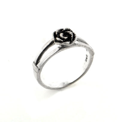 Sterling Silver Childrens Double Shank Rose Ring - Silver Insanity