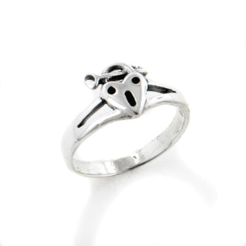 Unlock My Heart Lock and Key Sterling Silver Ring - Silver Insanity