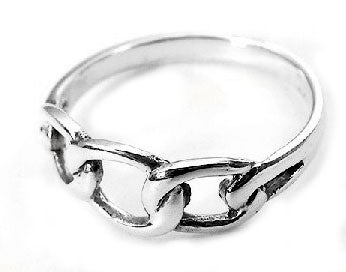 Sterling Silver Open Chain Link Knot Rope Ring - Silver Insanity