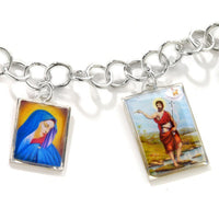 "Mary and Joseph Benedicta Catholic Sterling Silver Charm Bracelet 6.5"" - Silver Insanity"
