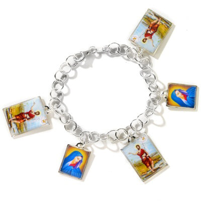 Mary and Joseph Benedicta Catholic Sterling Silver Charm Bracelet 6.5
