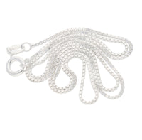 Italian 1mm Sterling Silver Box Link Chain Necklace - Silver Insanity