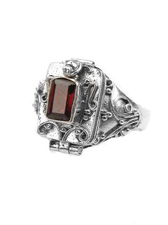 Sterling Silver Garnet Poison Box Locket Ring - Silver Insanity