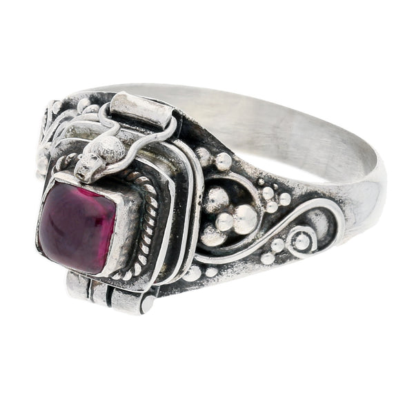 Sterling Silver Square Garnet Poison Locket Box Ring - Silver Insanity