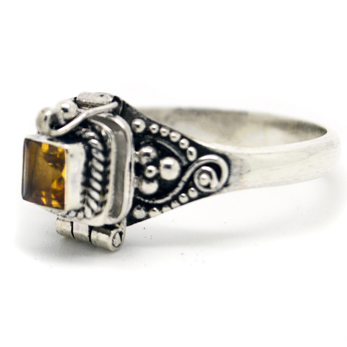 Sterling Silver Yellow Citrine Poison Box Ring