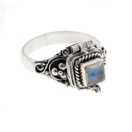 Square Sterling Silver Rainbow Moonstone Poison Box Locket Ring - Silver Insanity