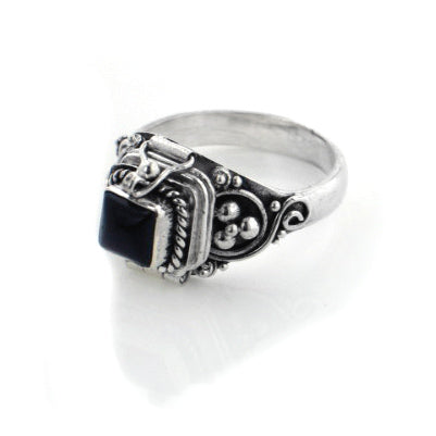 Small Square Sterling Silver Black Onyx Poison Box Locket Ring - Silver Insanity