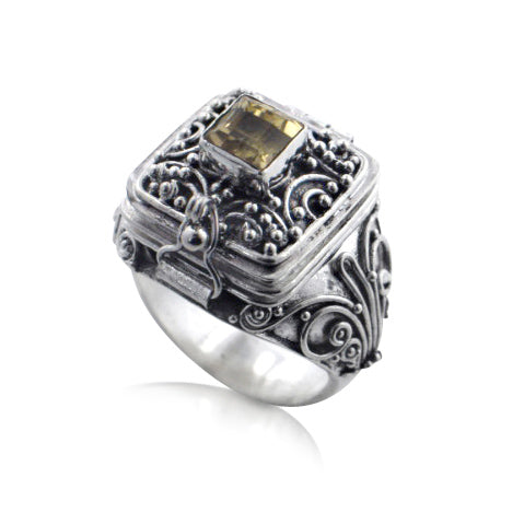 Square Genuine Citrine Poison Locket Box Sterling Silver Ring - Silver Insanity