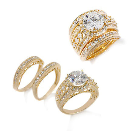 Vermeil Sterling 9mm CZ Wedding Ring 3-Piece Set