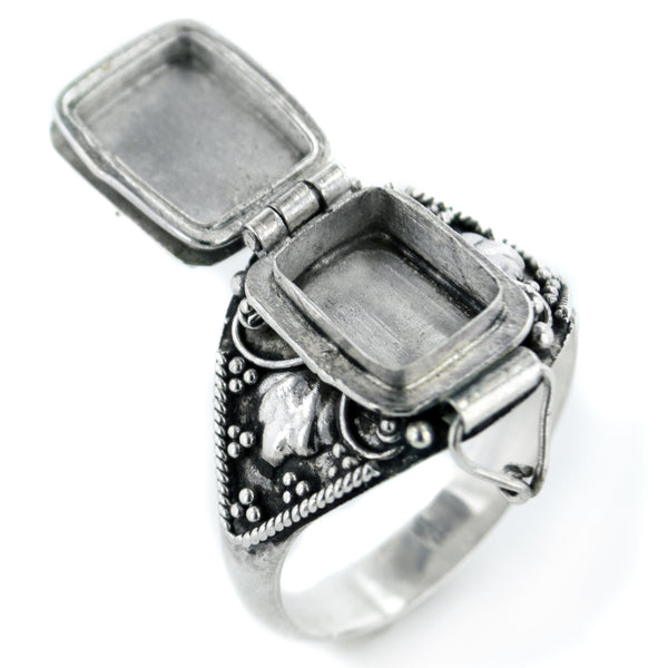 Sterling Silver Medieval Poison Ring with Rainbow Moonstone Ring - Silver Insanity