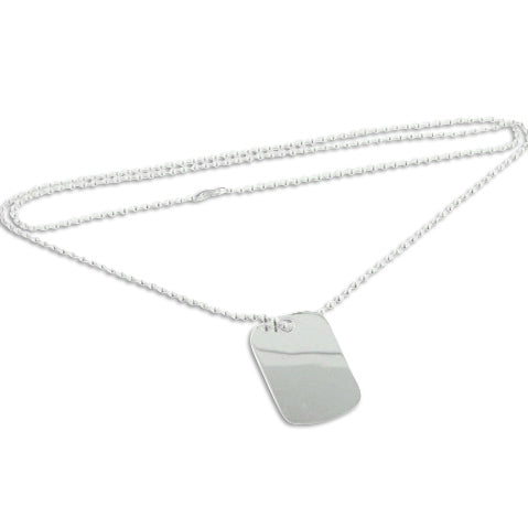 Sterling Silver 2.2mm Bead Chain Necklace with Engraveable Dog Tag - Silver Insanity