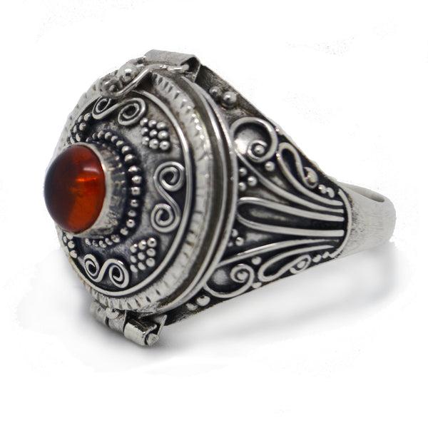 Large Genuine Amber Poison Box Sterling Silver Ring - Silver Insanity