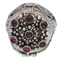 Large Sterling Silver Mystic Garnet Poison Locket Box Ring - Silver Insanity