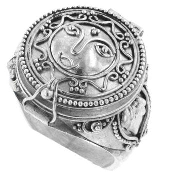 Sterling Silver Sun Face Poison Box Prayer Ring - Silver Insanity