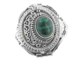 Genuine Malachite and Sterling Silver Medieval Poison Box Locket Ring - Silver Insanity