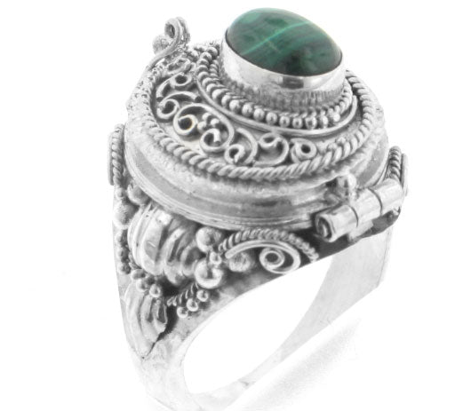Genuine Malachite and Sterling Silver Medieval Poison Box Locket Ring