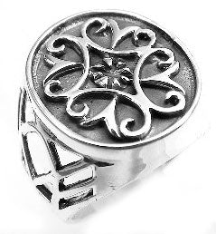 Sterling Silver Double Fleur De Lis Style Cross Ring