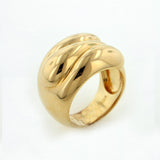 Polished Lapping Waves Gold Plated Sterling Silver Ring