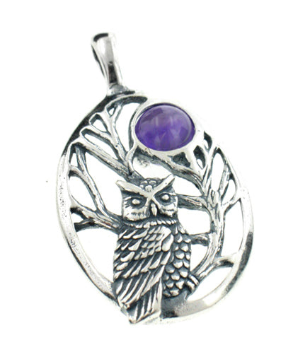 Sterling Silver Night Owl in Tree Scene with Amethyst Moon Pendant - Silver Insanity