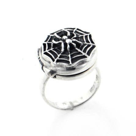 Spider hiding on Spiderweb Locket Poison Ring Sterling Silver