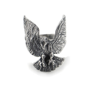 Hawk - Majestic Bird of Prey - Mens Sterling Silver Ring - Silver Insanity