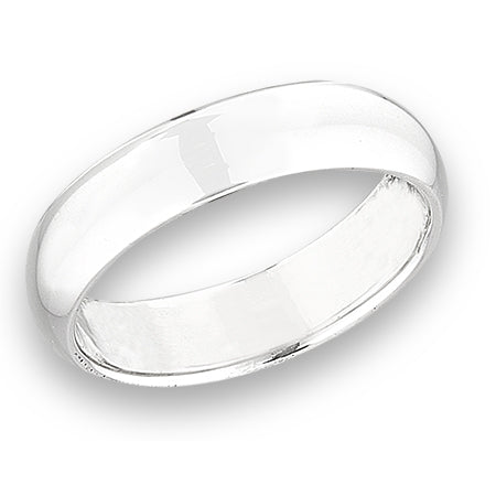 Solid Sterling Silver 5mm Wedding Band Ring