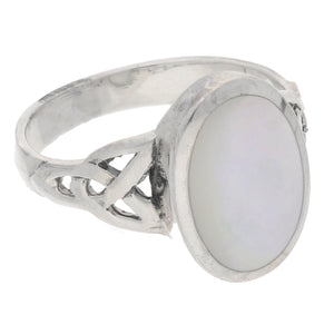 Sterling Silver Mother of Pearl Inlay Celtic Knot Ring - Silver Insanity