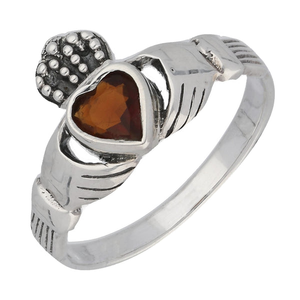 Sterling Silver Red Glass Heart Celtic Claddagh Ring - Silver Insanity