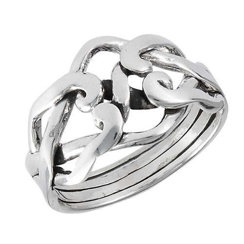 Sterling Silver 4-Band Weaved Puzzle Knot Ring