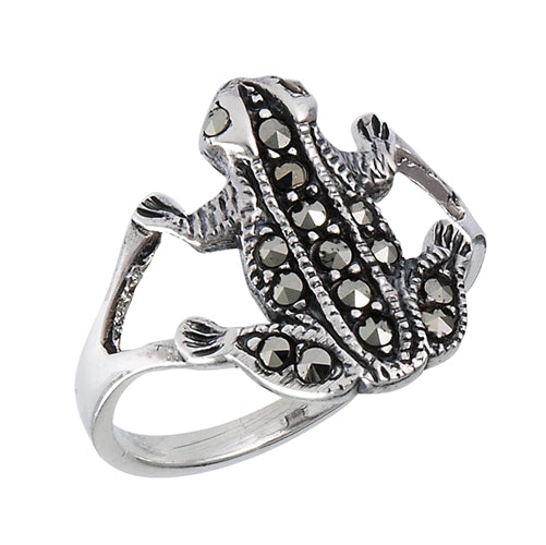 Sterling Silver Vintage Look Marcasite Frog Ring - Silver Insanity