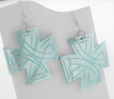 Sterling Silver Blue Carved Mother of Pearl MOP Shell Cross Shaped Earrings - Silver Insanity