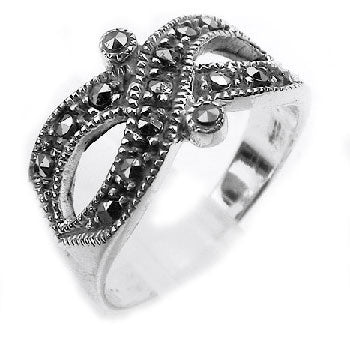 Sterling Silver Marcasite Infinity Band Ring - Silver Insanity