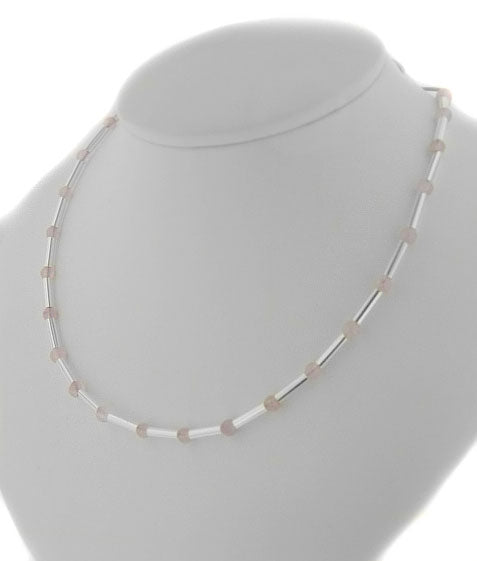 "Sterling Silver Rose Quartz Bead Bar 17"" Chain Necklace - Silver Insanity"