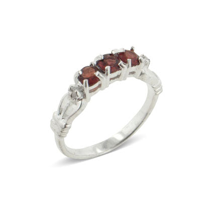 3-Stone Genuine Garnet Sterling Silver Anniversary Band Ring - Silver Insanity