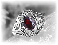 Sterling Silver Filigree and Red Garnet Ring - Silver Insanity